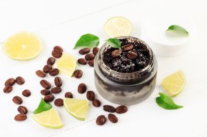 Cosmetic formulation exfoliating scrubs with coffee grounds