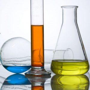 flasks full of coloured liquid