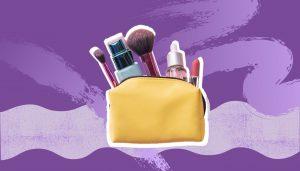 makeup bag on purple background