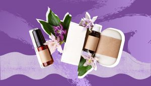 natural packaging on purple background
