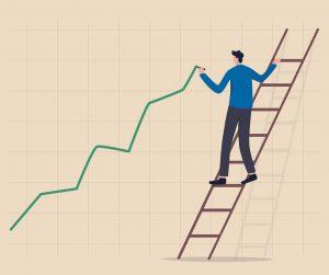 upward graph drawn by man on ladder