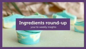 "blue shampoo bars behind title ""ingredients round-up"""