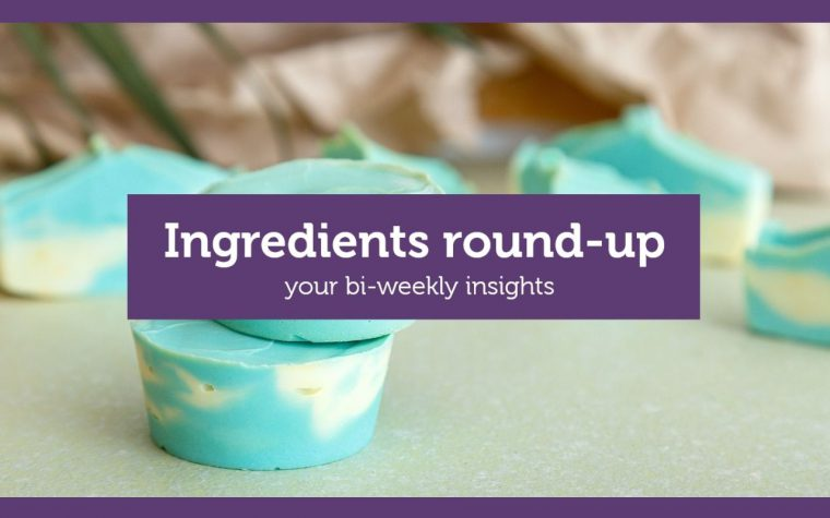 "blue shampoo bars behind title ""ingredients round-up"""