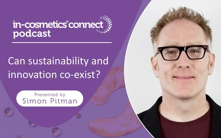 Can sustainability and innovation coexist? On purple background with image of host, Simon Pitman